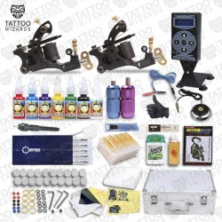 2 Tattoo Machine, Power, Needles, Tips, Professional Tattoo Kit #3
