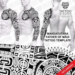 Makeatutara Father of Maui Tattoo Stencil Template