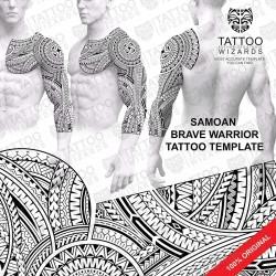 Samoan Brave Warrior Tattoo Stencil Template