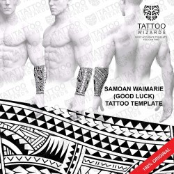 Samoan Waimarie (Good Luck) Tattoo Stencil Template