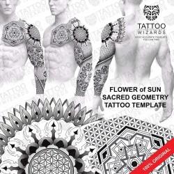 Sacred Geometry Flower of Sun Tattoo Stencil Template