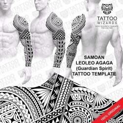 Leoleo Agaga (Guardian Spirit) Tattoo Stencil Template