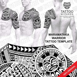 Maramataka Warrior Tattoo Stencil Template