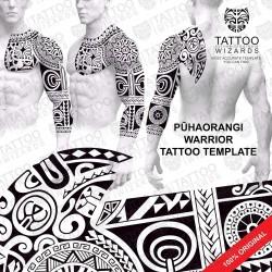 Pūhaorangi Warrior Tattoo Stencil Template