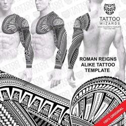 Roman Reigns alike Tattoo Stencil
