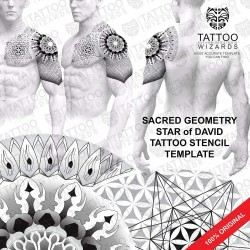 Sacred Geometry Star of David and Flower of Life Tattoo Stencil Template