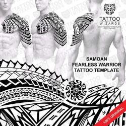 Samoan Fearless Warrior Tattoo Stencil Template
