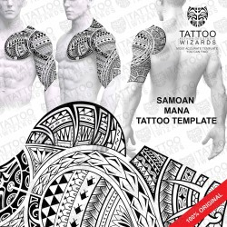 Samoan MANA Warrior Tattoo Stencil Template