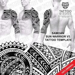 Samoan Sun Warrior V3. Stencil Template