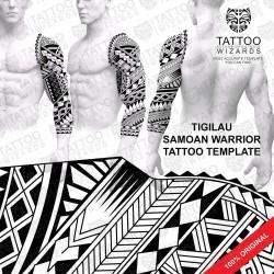 Tigilau Samoan Warrior Tattoo Stencil Template