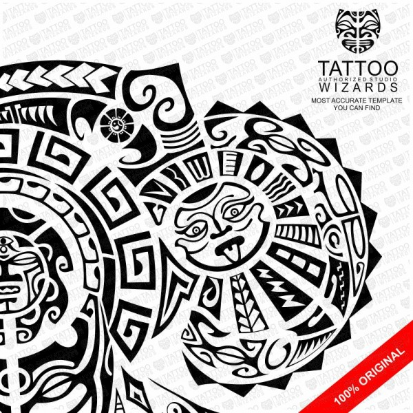 Maori Warrior Of Fury Vector Tattoo Template Stencil - Tattoo Wizards