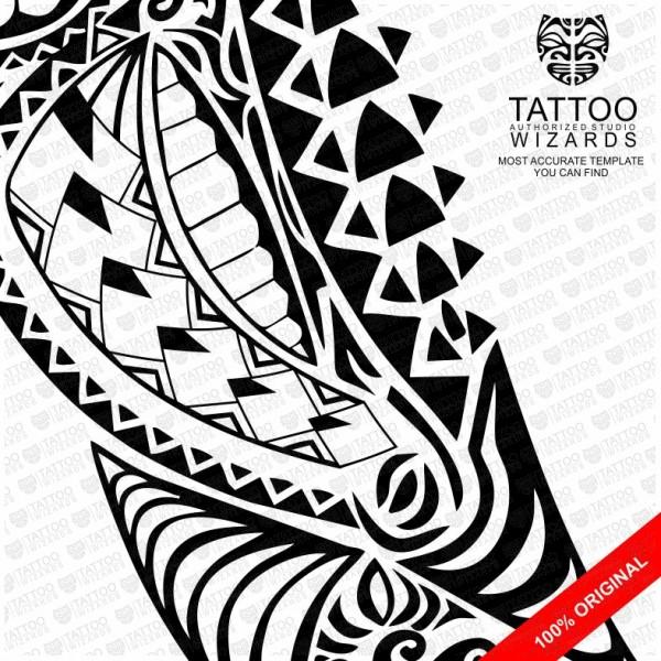Samoan Warrior Shark Vector Tattoo Template Stencil