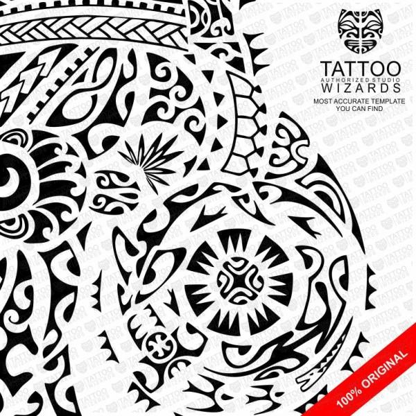 Maori Sea Warrior Vector Tattoo Template Stencil Tattoo