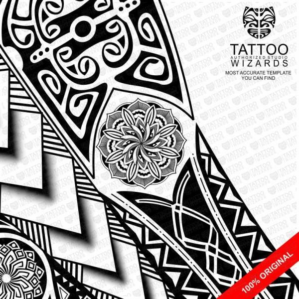 Maori Warrior Tattoo Design: Stylized Maori Warrior Vector Tattoo Template Stencil