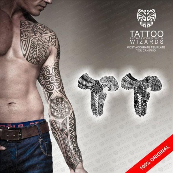 Maori Warrior Tattoo: Stylized Maori Warrior Vector Tattoo Template Stencil