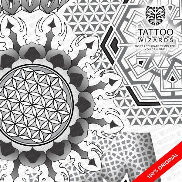Sacred Geometry Flower Of Sun Tattoo Stencil Template Tattoo Wizards