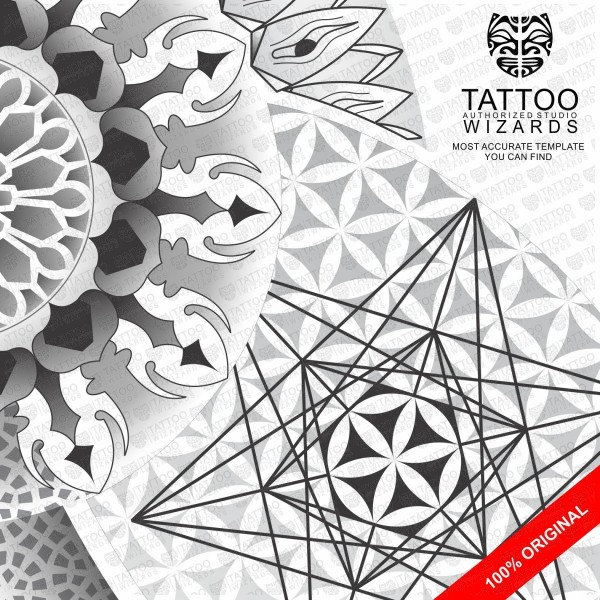 Sacred Geometry Star Of David And Flower Life Tattoo Stencil Template